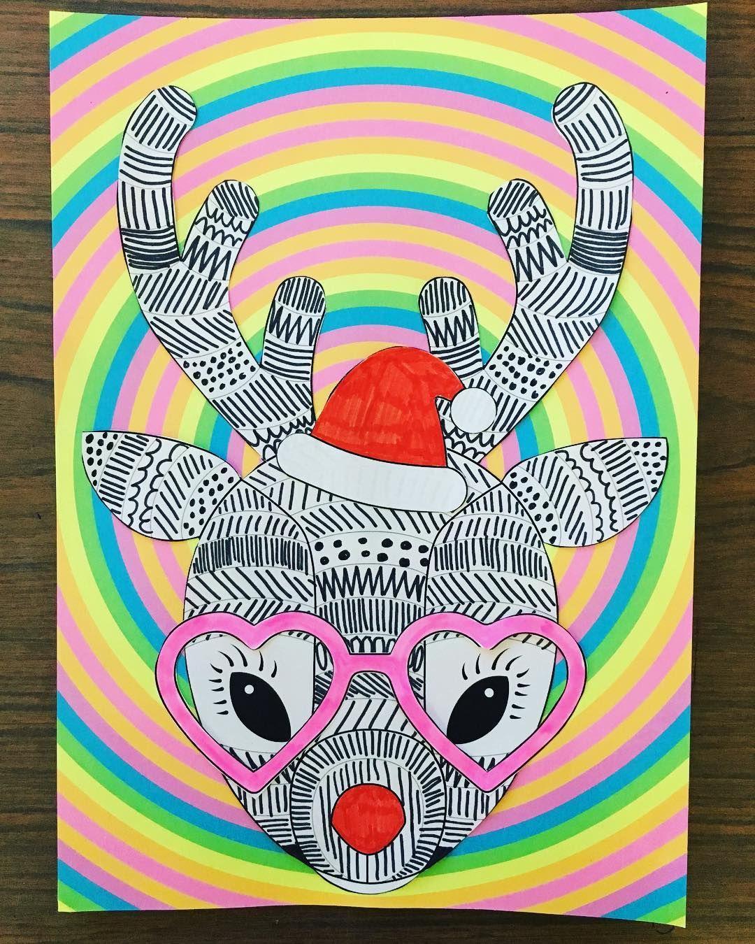 Funky Reindeer Craft Template Teaching Resource