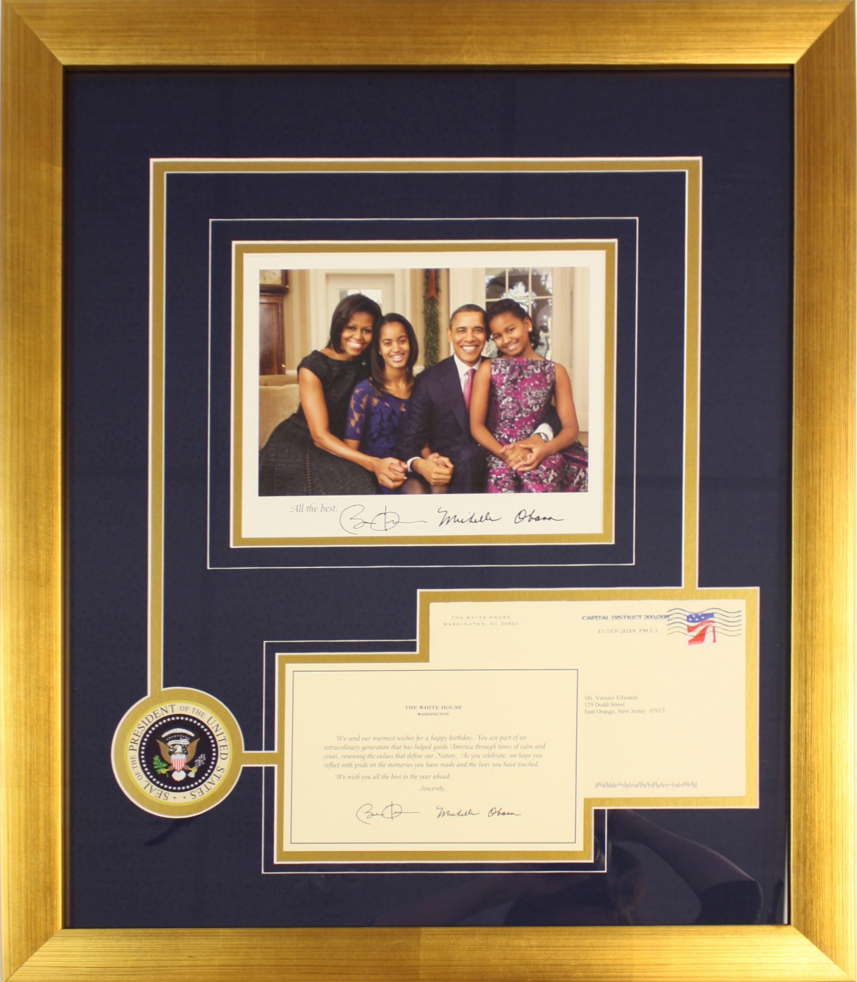 Framed presidential photo accompanied by a letter received from preserved in a gold brushed frame with blue and gold fabric mat boards cut into a custom design jeuxipadfo Choice Image