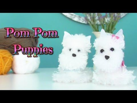 How to make pom pom puppies dog pompon yarn westy isa for Pom pom puppy craft