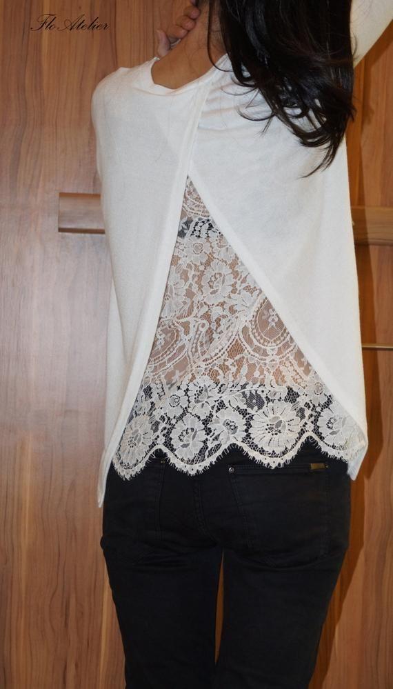 7468e1c55ccda1 White Cotton Lace Women Blouse / Long Sleeve Lace Shirt/Sexy | Etsy