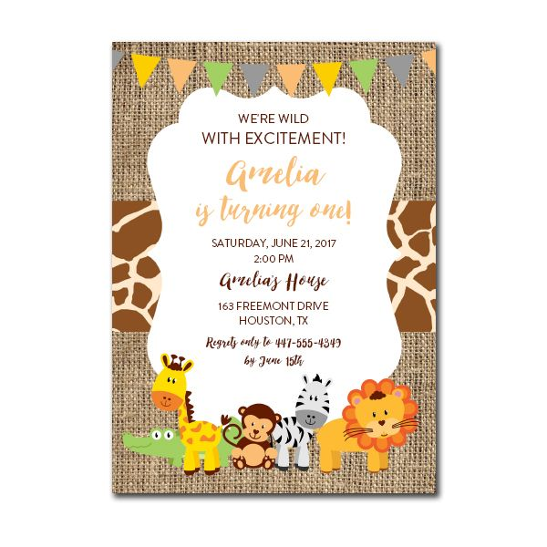 Birthday Invitation Template Safari 10