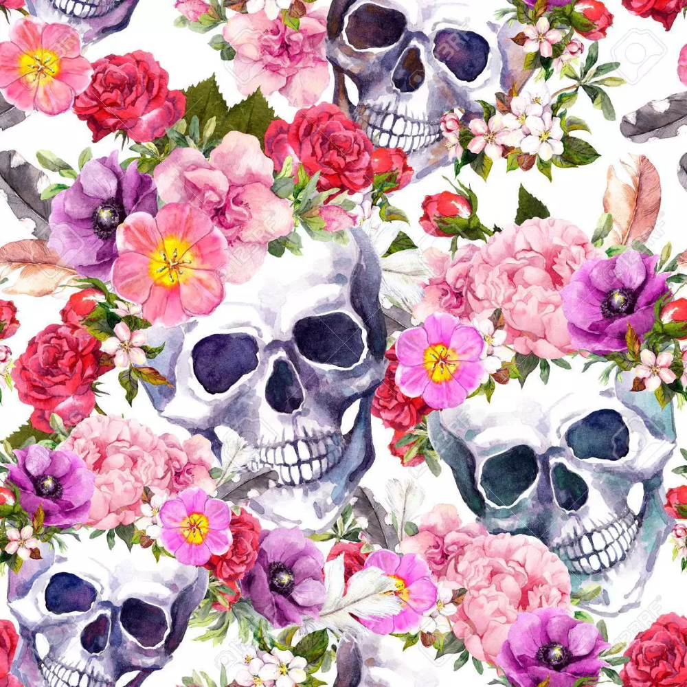 Calaveras Con Flores Con Imagenes Dibujos Illustration