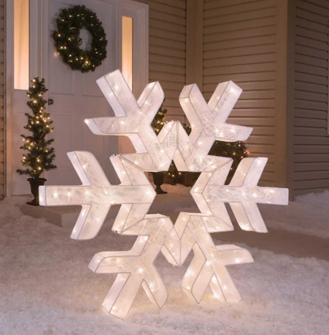 48 Snowflake Lights Outdoor Christmas Decorations Christmas Yard Decorations