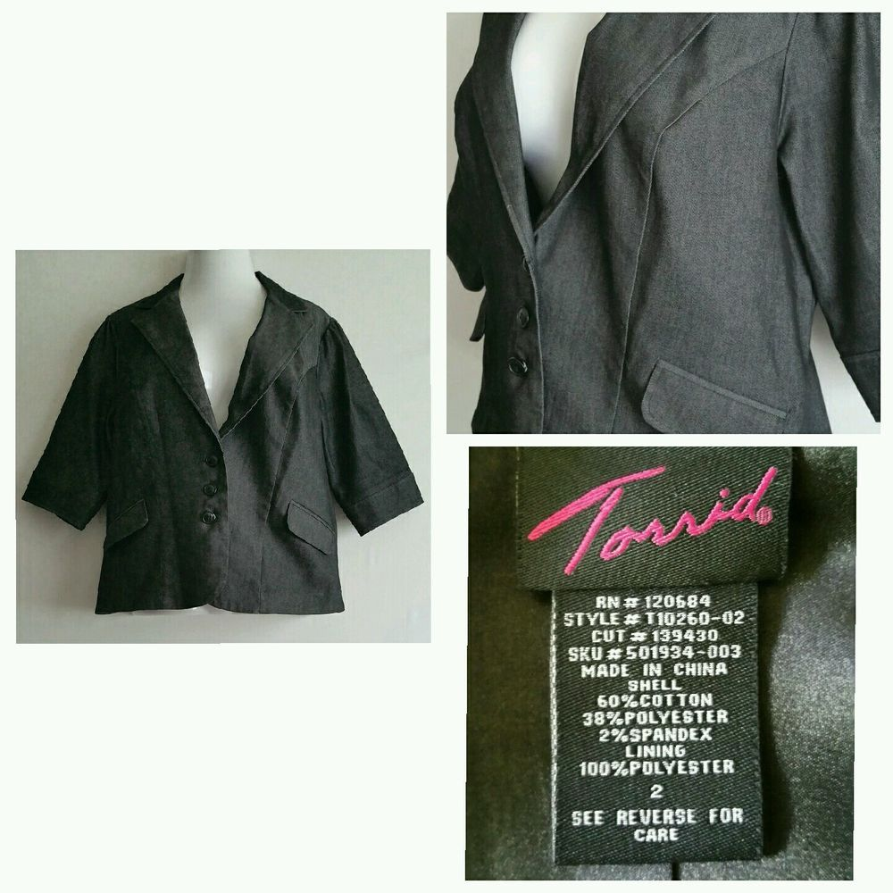 109f5b4986f Torrid plus Size 2 18W Womens charcoal gray blazer career jacket lined in  Clothing