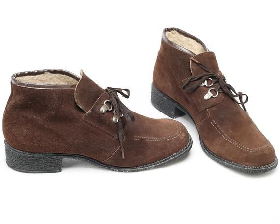Photo of US women 8.5 . Winter Ankle Boots Faux Fur Insulated Warm Desert Boots 70s Chukka Boots Lace Up Brown Suede Boots . Eur 39 Uk 6
