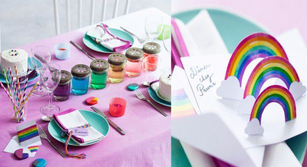 Table arc-en-ciel : les invitations pop-up gratuites