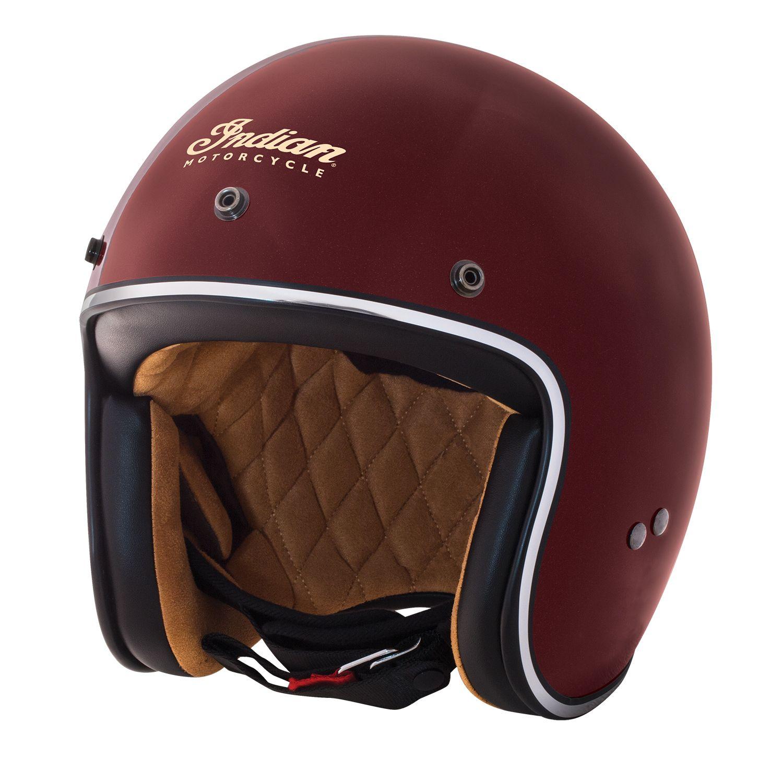 Retro Open Face Helmet Red A Sharp Retro Styled Fiberglass Shell Hemet With Contrast Tan Lining Features Detachable S Open Face Helmets Retro Helmet Helmet