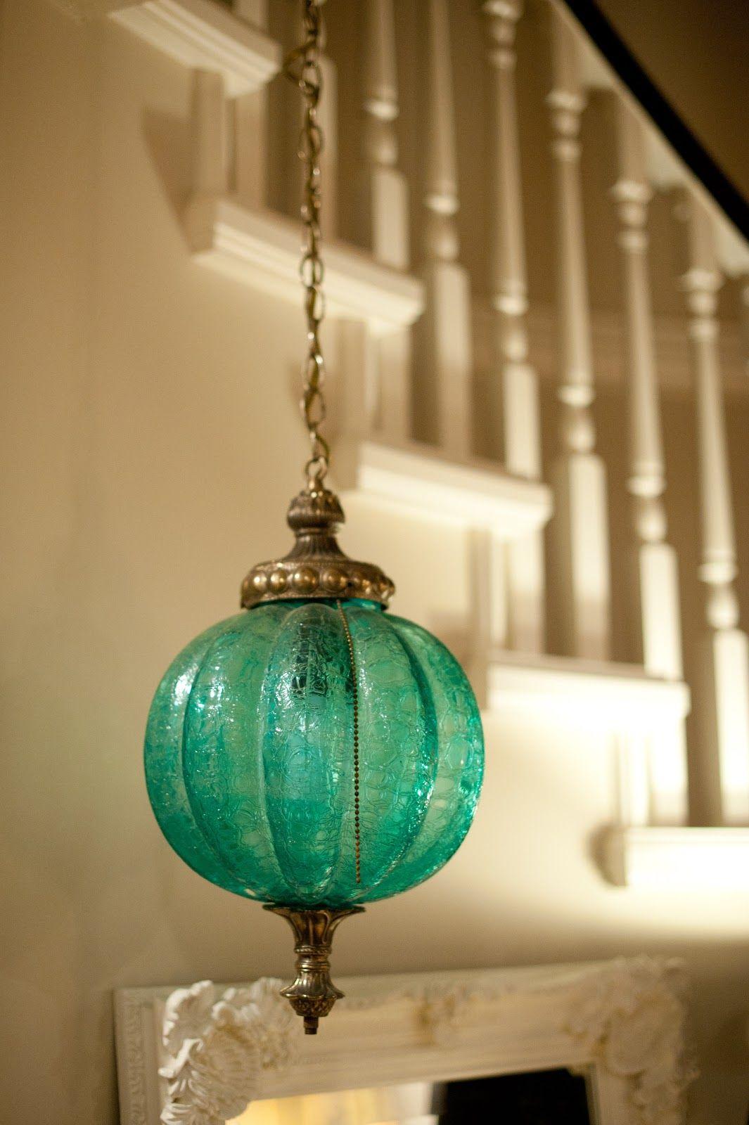 pretty vintage turquoise glass pendant light vintage home