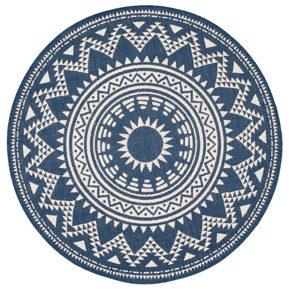 Modern Flachgewebe Ruggy Mandala Blau Rund Mandala Teppich