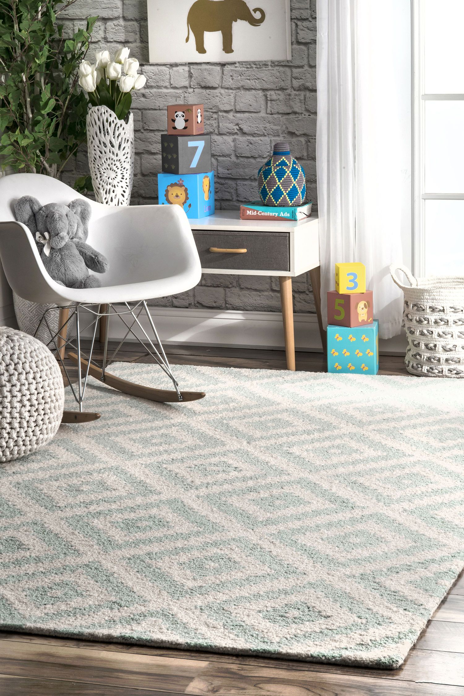 Hand Tufted Kellee Color Aqua Size 7 6 X 9 6 Rugs Rugs Usa Contemporary Rugs