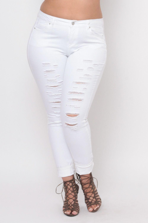 eb7faf99015 Plus Size Distressed Ripped Skinny Jeans - White | Plus Closet ...