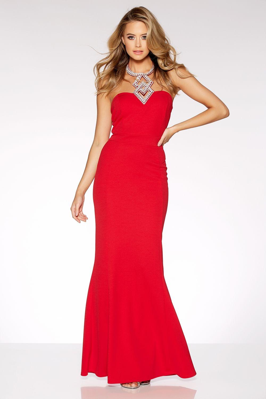 Red diamante halter neck fishtail maxi dress motb dress