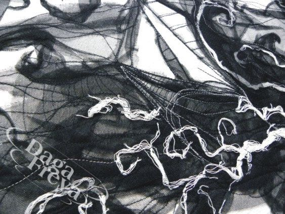 The storm  textile art  original artistic hand by PrivateDock, $285.00
