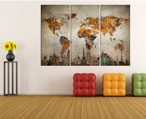 World map wall art canvas print interior design world map wall world map wall art canvas print interior design world map wall decor extra large gumiabroncs Image collections
