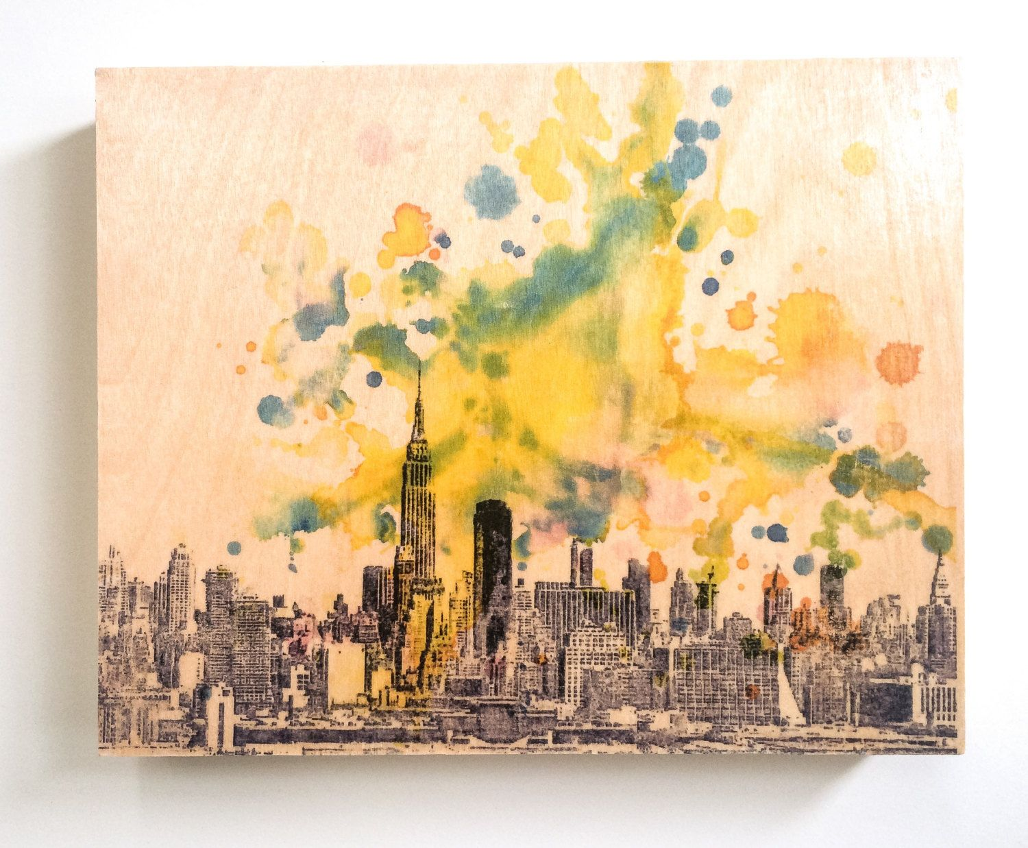 Wood Wall Art Panel New York Skyline Art Print from Original ...