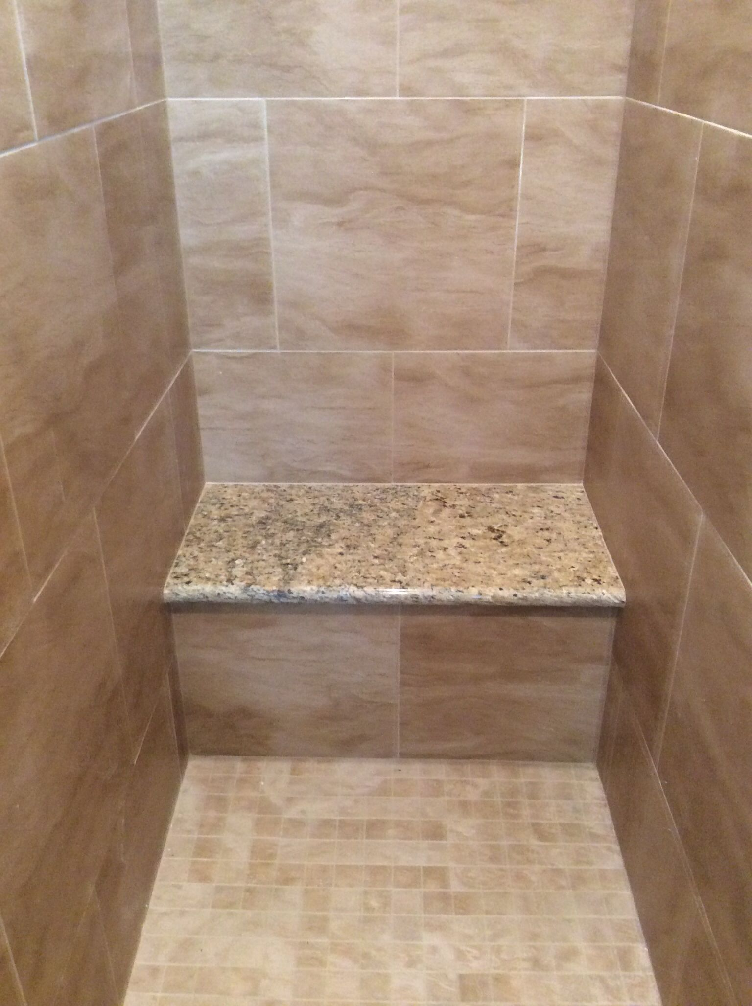 Bench in shower stall (cement bench, no wood and granite top ...