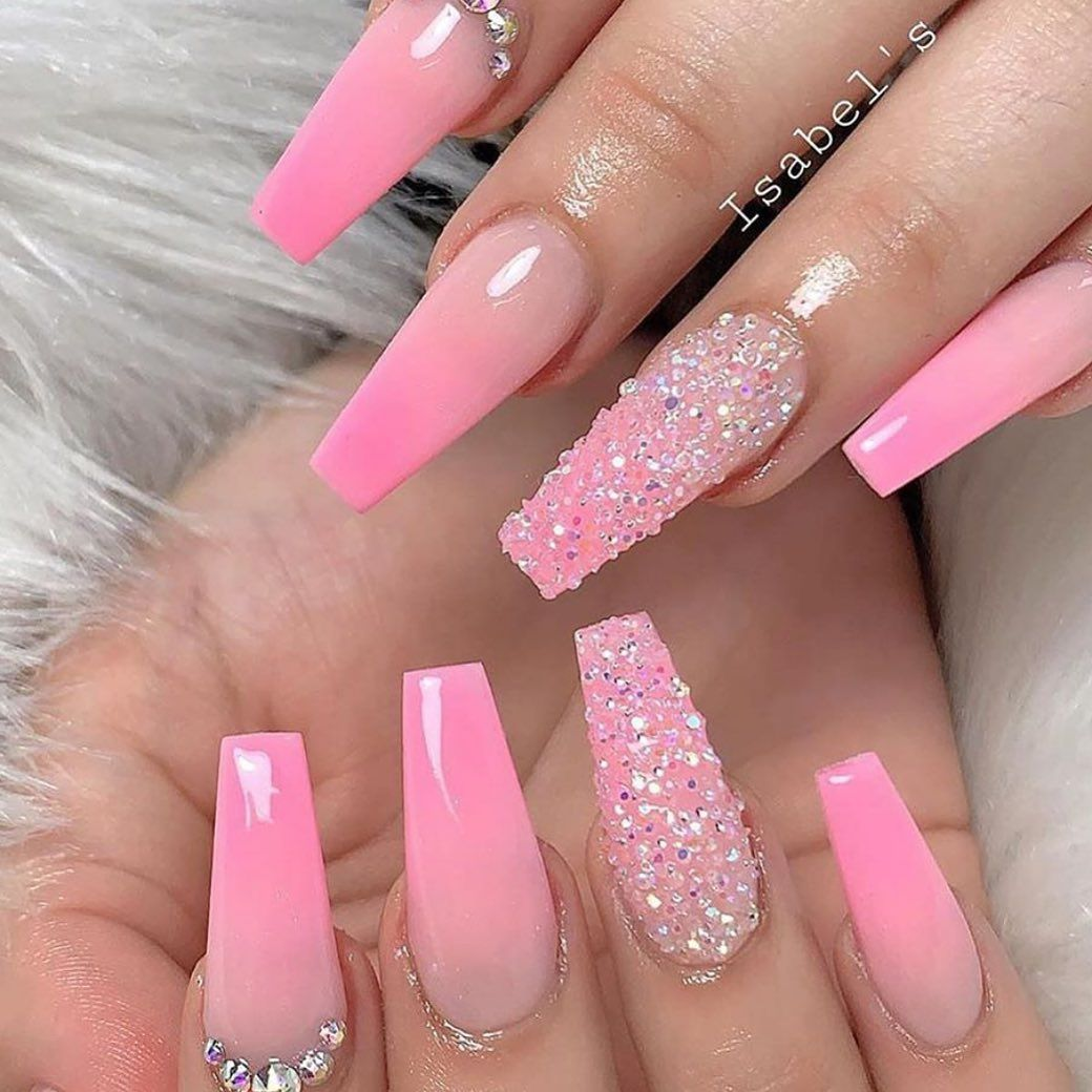 She S A Keeper What S Your Current Relationship Status Isabelsnails In 2020 Coffin Nails Designs Pink Nails Pink Ombre Nails