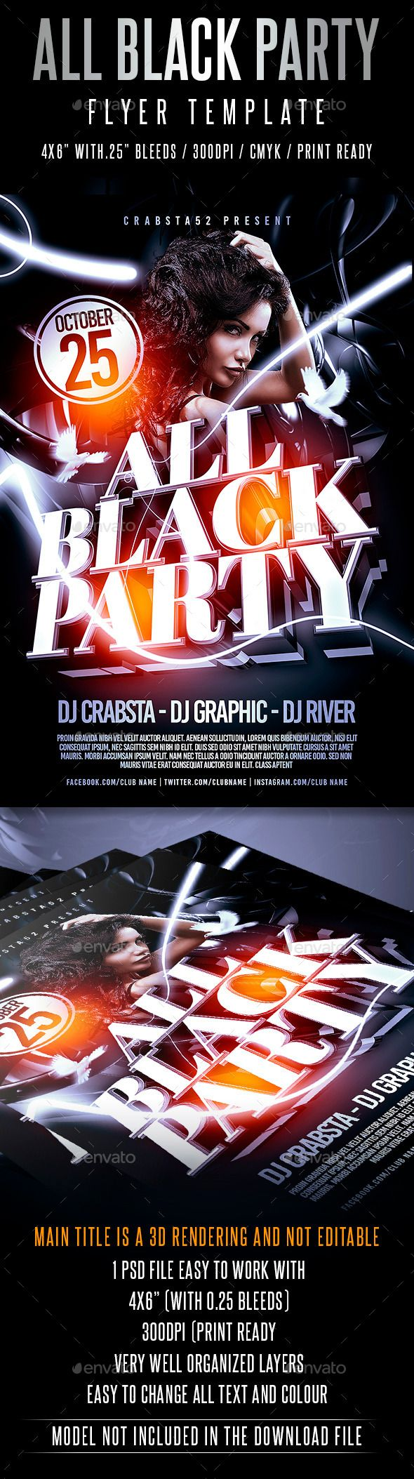 all black party flyer template black party party flyer and flyer