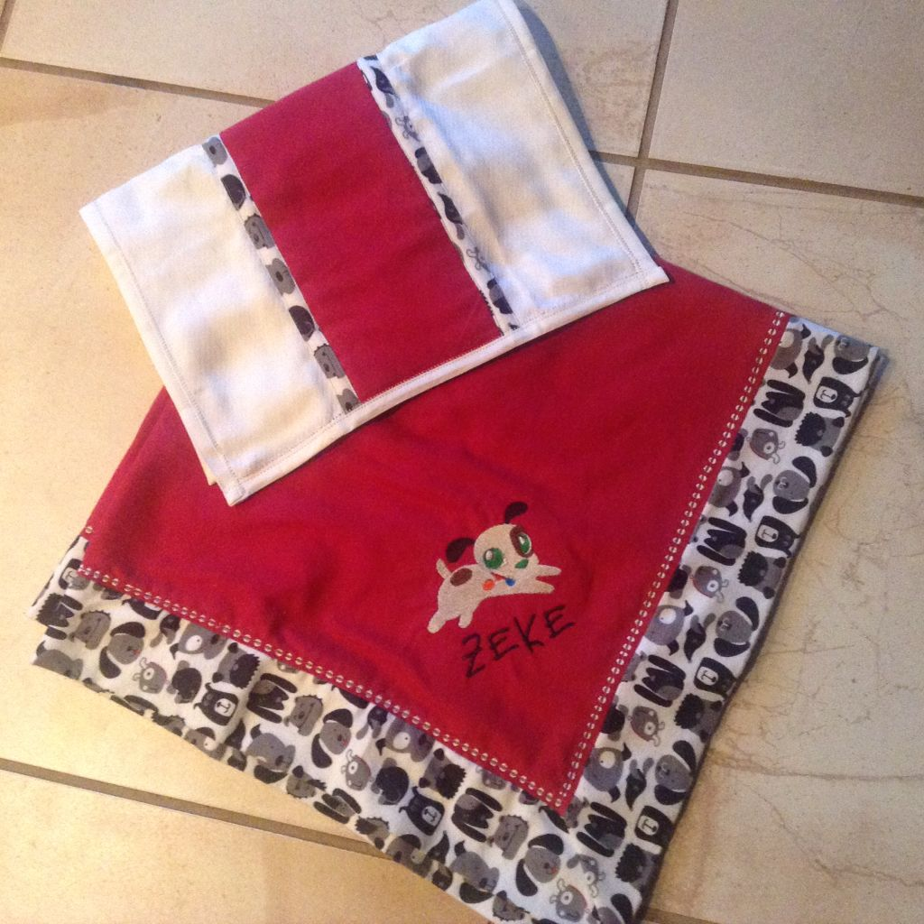 Self Binding Receiving Blanket And Burp Rag