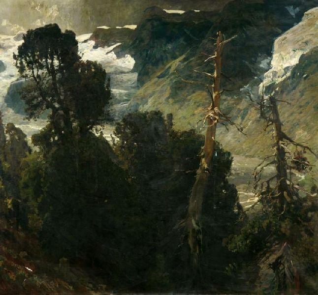 """Eugen Bracht: """"Der Staffelwald bei Zermatt"""""""