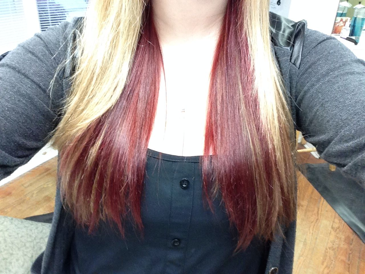 My Blonde Hair With Dark Red Underneath Hair Dyed