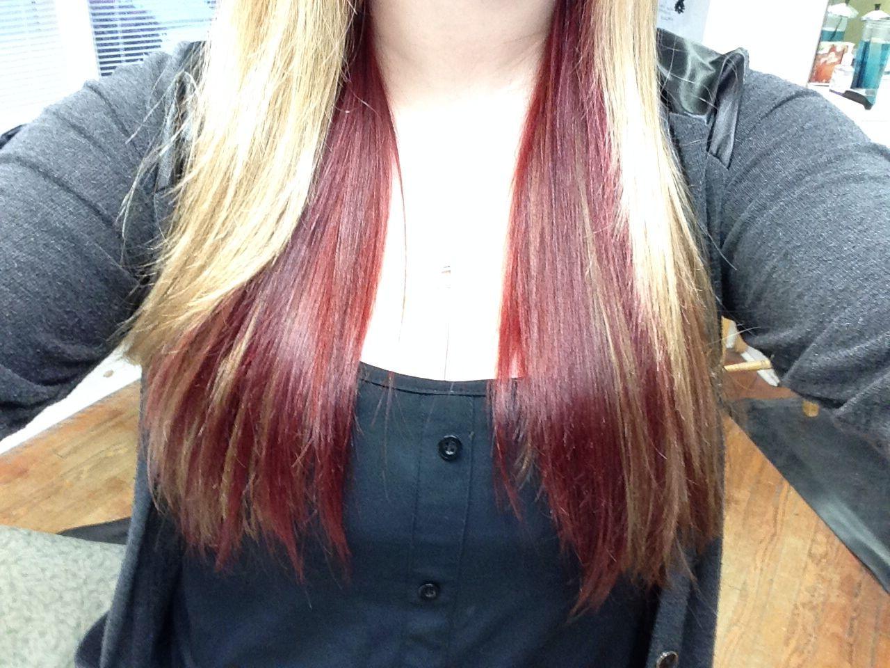 My Blonde Hair With Dark Red Underneath Hair Pinterest
