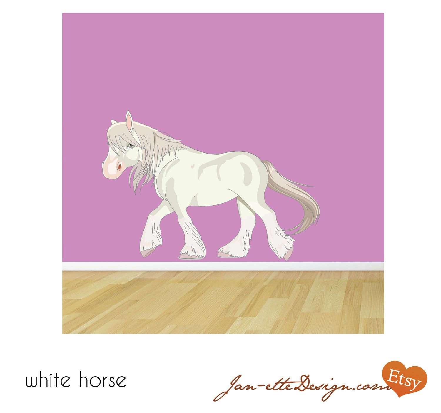 Large white horse fabric wall decal via etsy for Horse fabric for kids