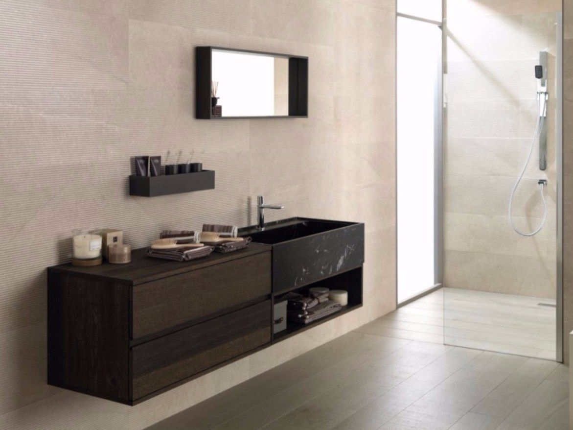 Wall Mounted Oak Vanity Unit With Mirror Premium Icon Roble Carbon Gamadecor Bathroom Furniture Design Bathroom Furniture Bathroom Furniture Storage
