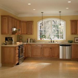 hampton bay hampton assembled 24x345x24 in base kitchen cabinet with ballbearing drawer glides in medium oak