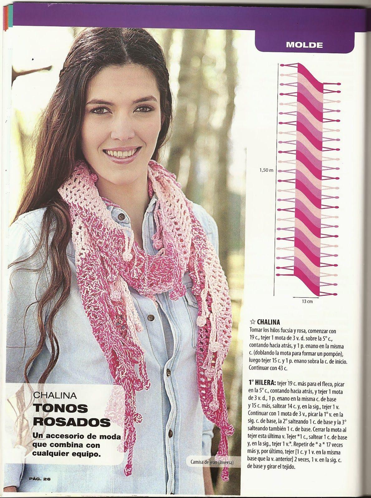 Patrones Crochet: Bufanda Chalina 4 colores Instrucciones | pañuelos ...