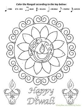 Diwali Color By Note Detailed Coloring Pages Free Printable Coloring Pages Free Coloring Pages
