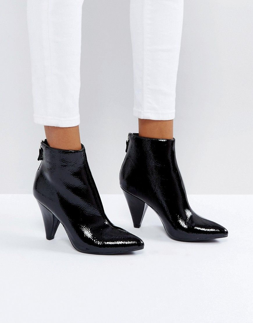 409502551e4 New Look Black Patent Cone Heel Pointed Ankle Boot - Black | Shop ...