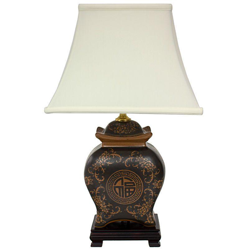 Oriental Furniture 19 Black Brown Medallions Porcelain Table