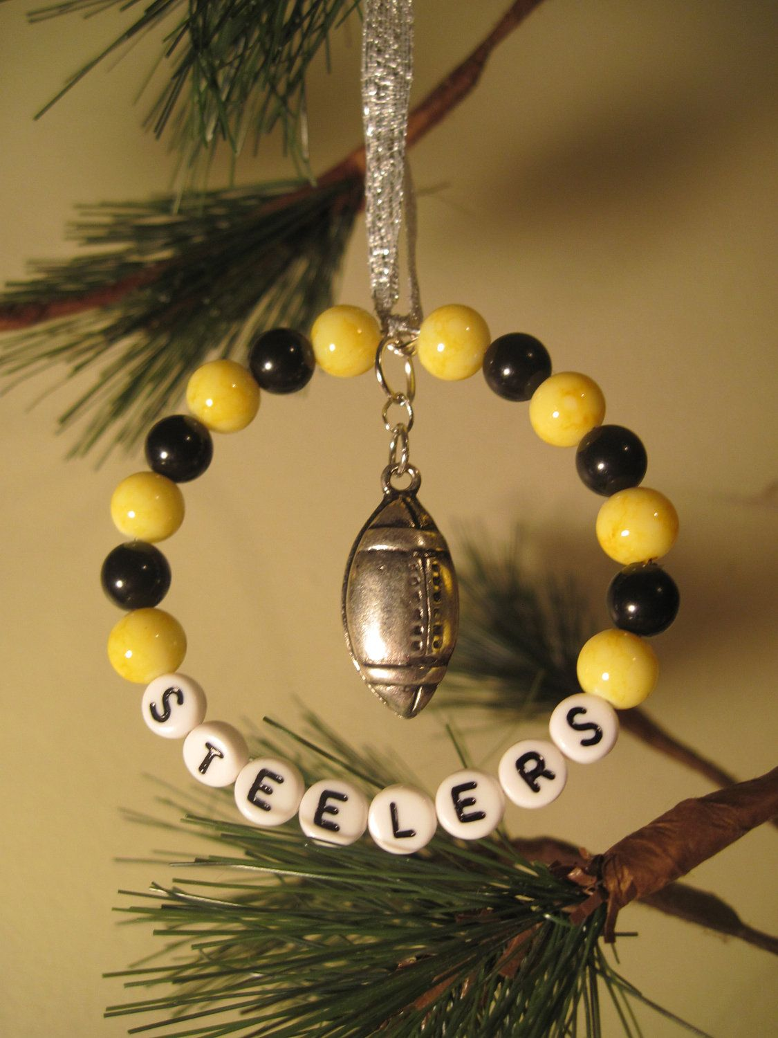 Yellow and Black Glass Beaded Tree Rings / Christmas Ornaments with ...