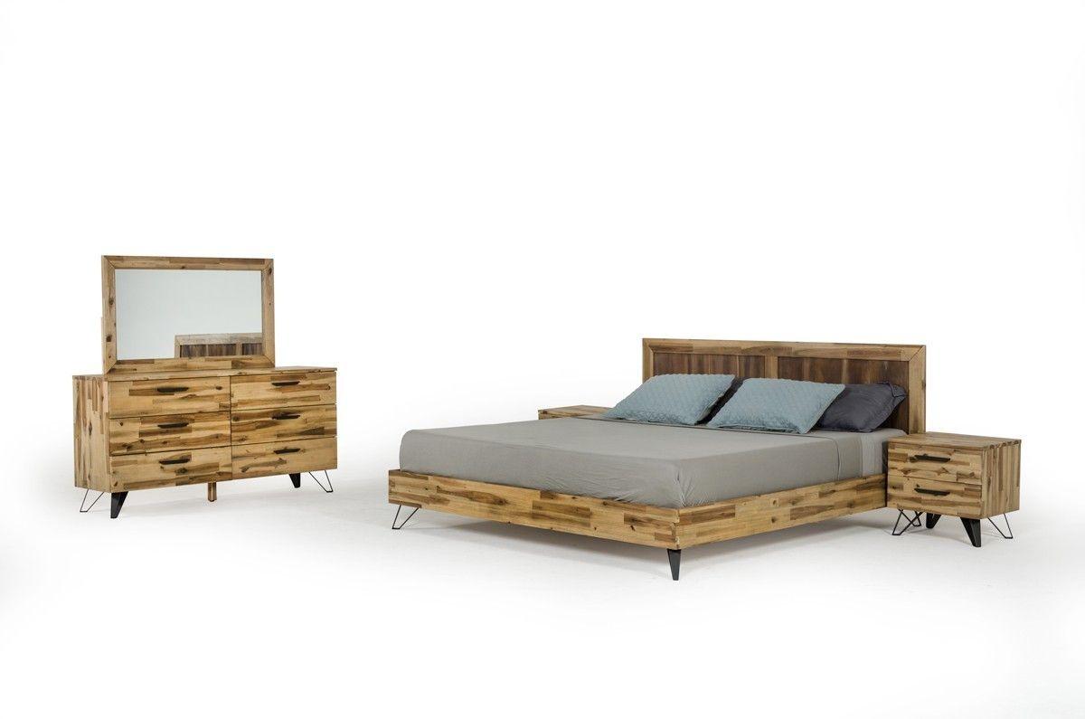 Modrest Sala Modern Light Wood Bed Modern Bedroom Wood Bedroom