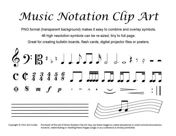 Music Notation Clip Art 48 Common Symbols Clip Art Art And Etsy