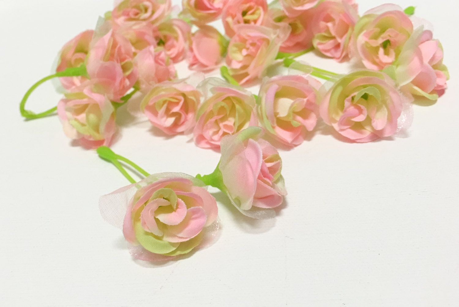 Tiny Pink And Green Sweetheart Roses Miniature Roses Silk Flowers