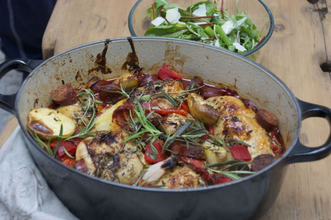 Kylling- og chorizogryte