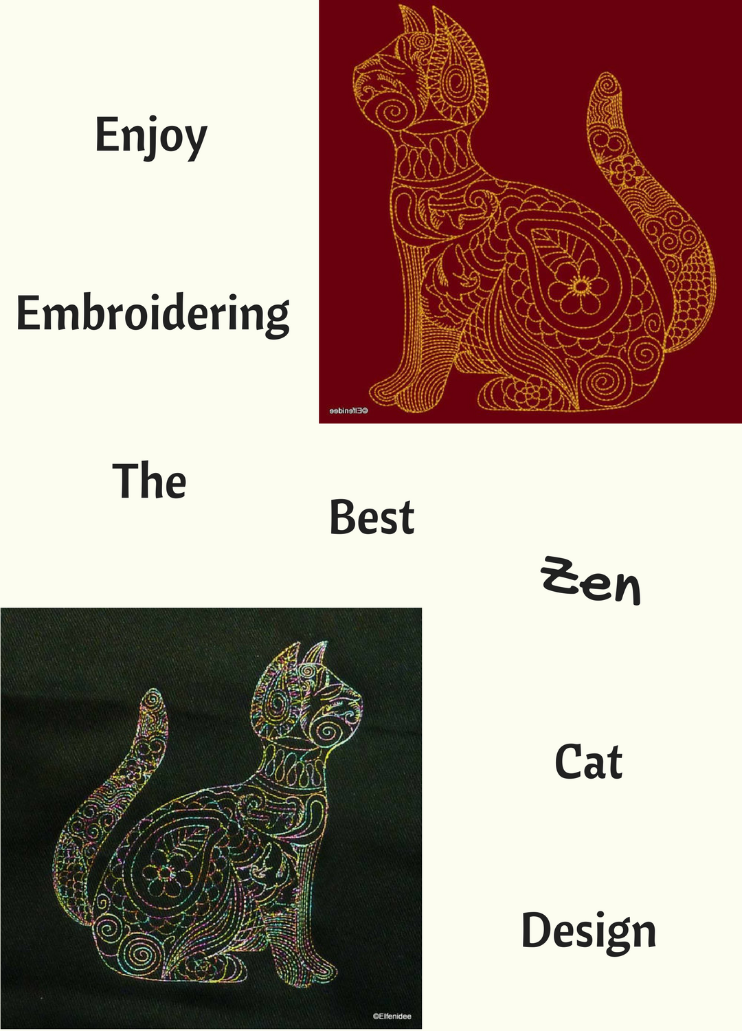 I love this cat designed in the zen embroidery style it reminds me
