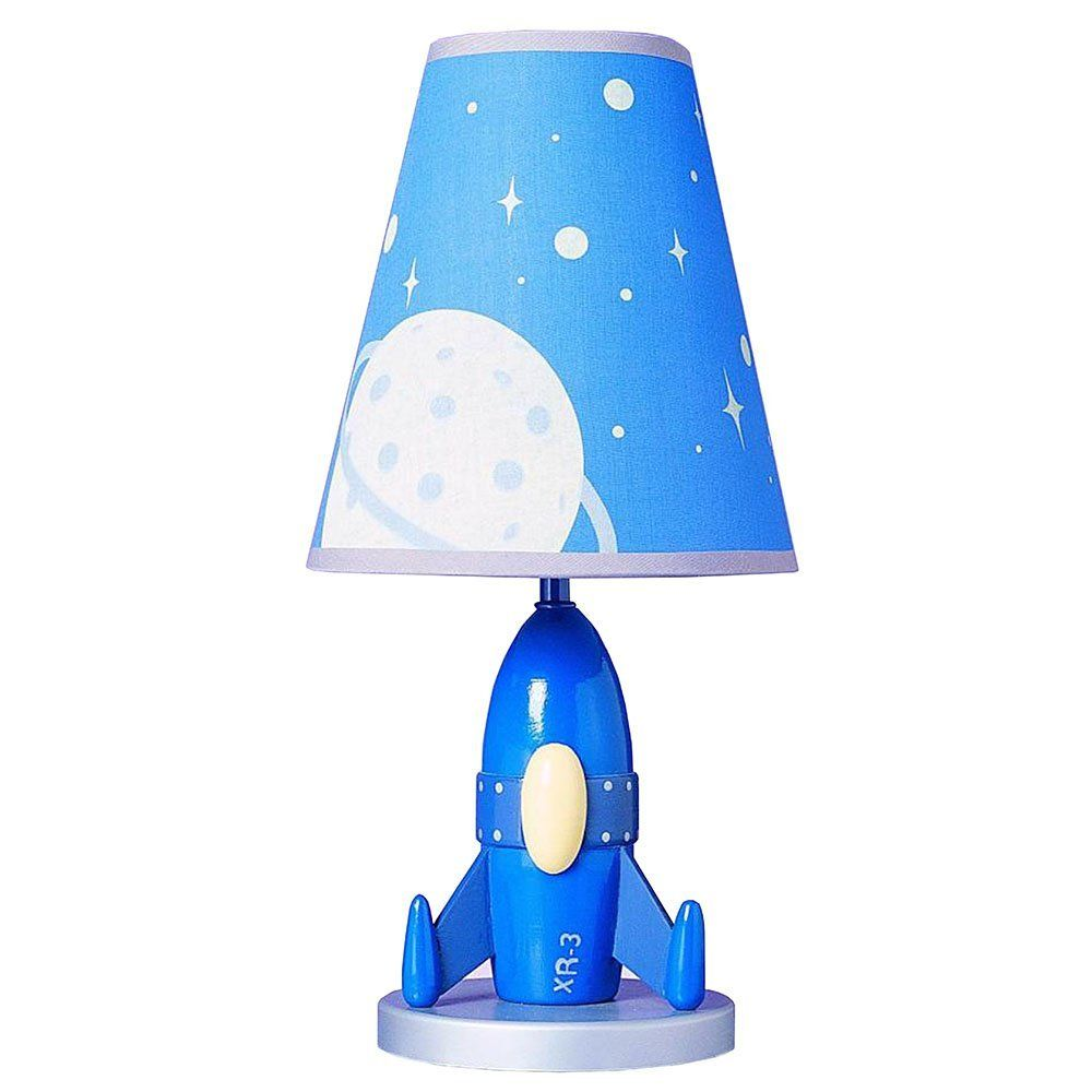 Childrens Novelty Light Fittings : Cal Lighting BO-5644 Kids Novelty Lamp with Outer Space Blue Fabric Shades, Rocket Ship in Blue ...