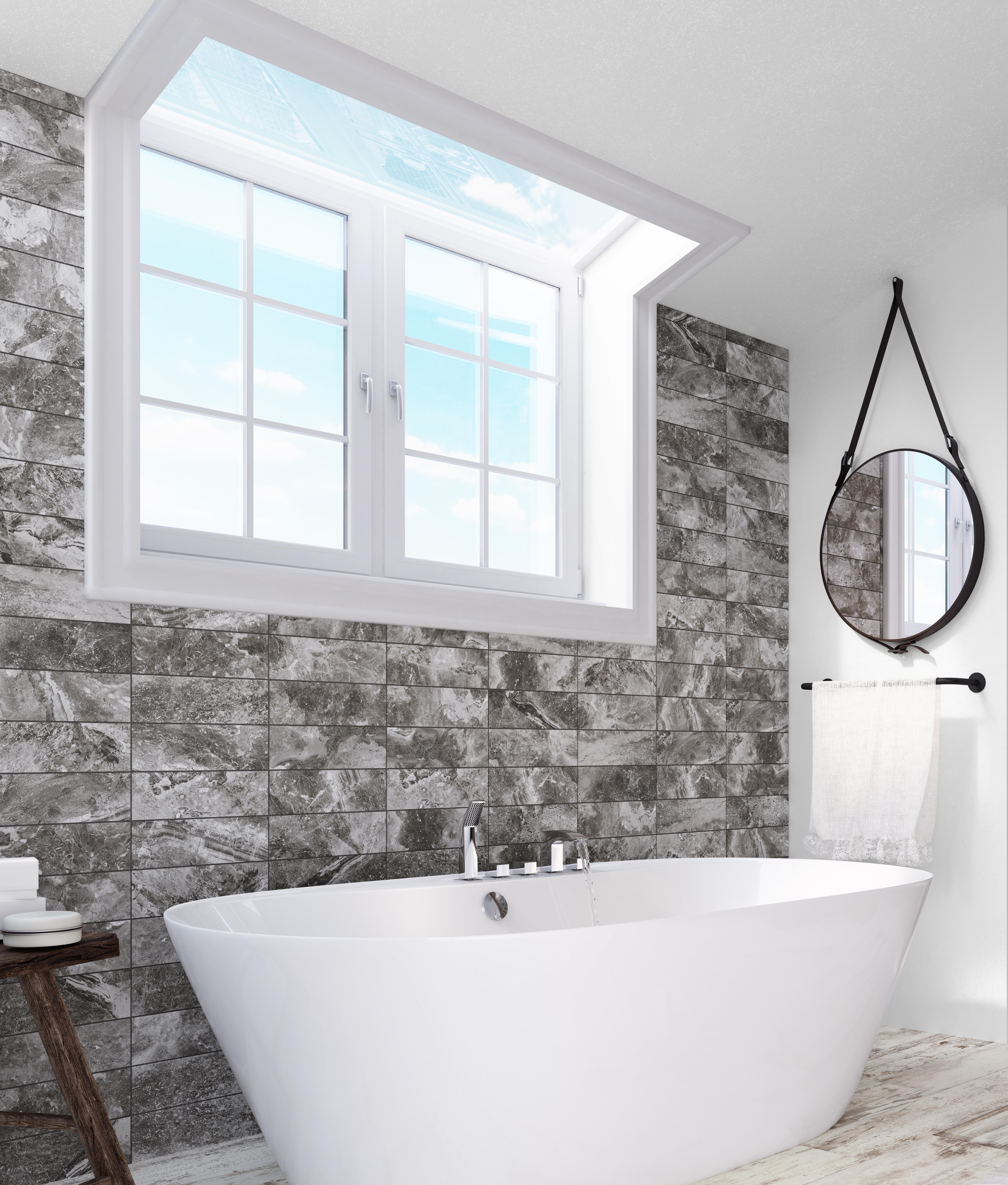 Black and white contrast for this stone look in brick size porcelain ...
