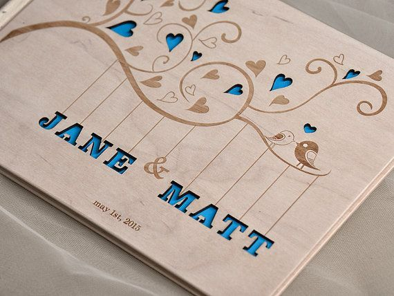Custom Wood Wooden Wedding Guest Book Z Guestbook Laser Engraved Hearts And