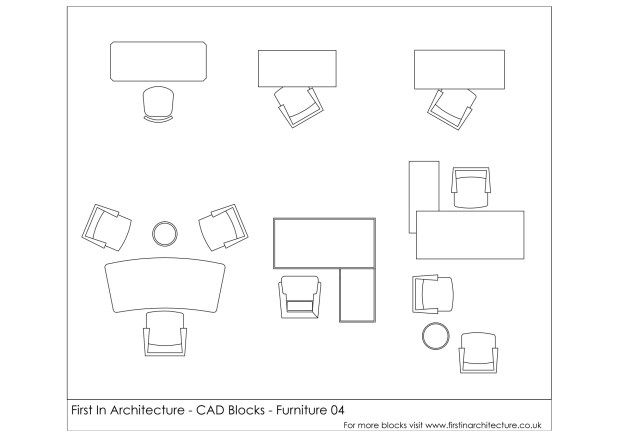 Free CAD Blocks – Furniture 04 | Stylish office, Architecture and ...