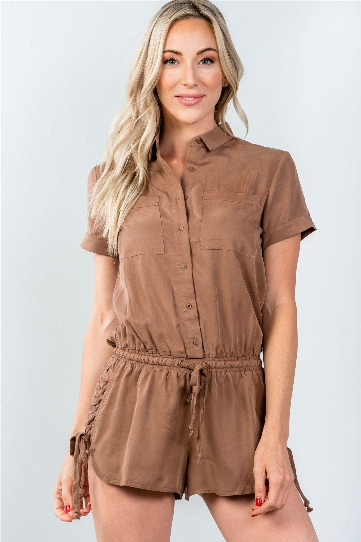 Ladies fashion button down closure laceup side drawstring romper