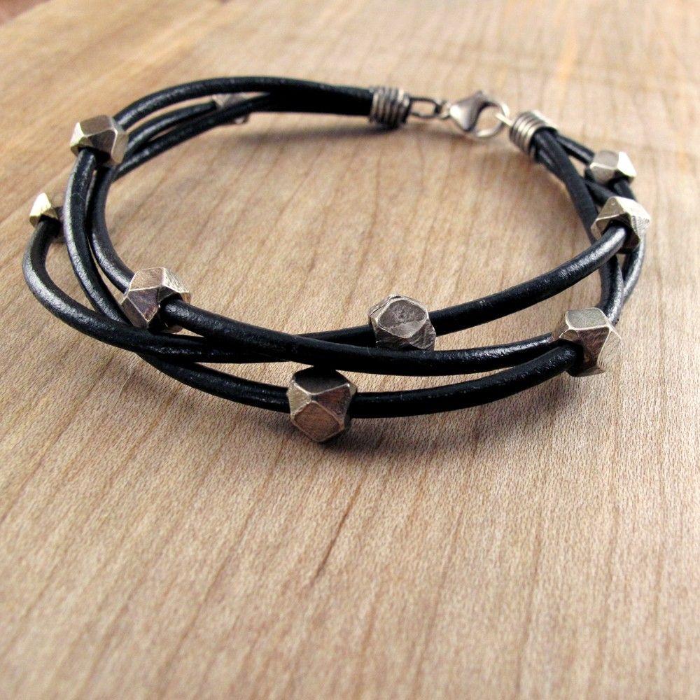 Chunky leather u silver bracelet for men via etsy diy