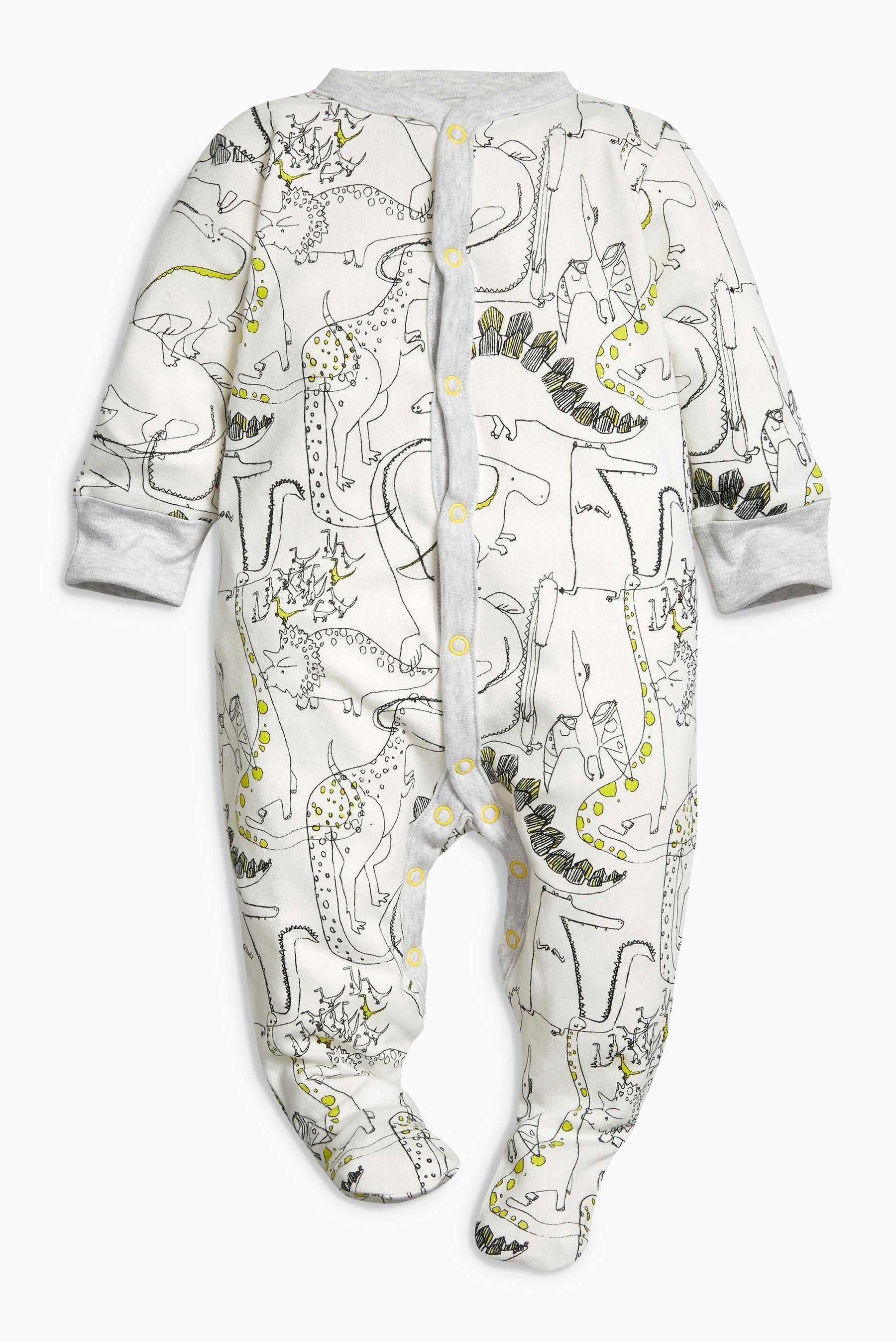 Buy Monochrome Dino Sleepsuits Three Pack 0mths 2yrs From The Next