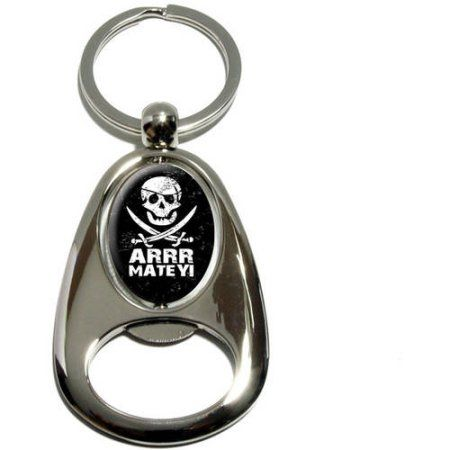 Pirate Arrr Matey, Skull Crossed Swords, Chrome Plated Metal Spinning Oval Design Bottle Opener Keychain Key Ring, Silver