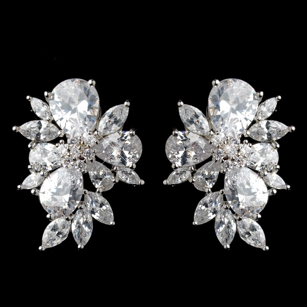 e76cb207e76dd6 Multi Cut CZ Cluster Stud Wedding Earrings - beautiful mother of the bride  accessory! -Affordable Elegance Bridal -