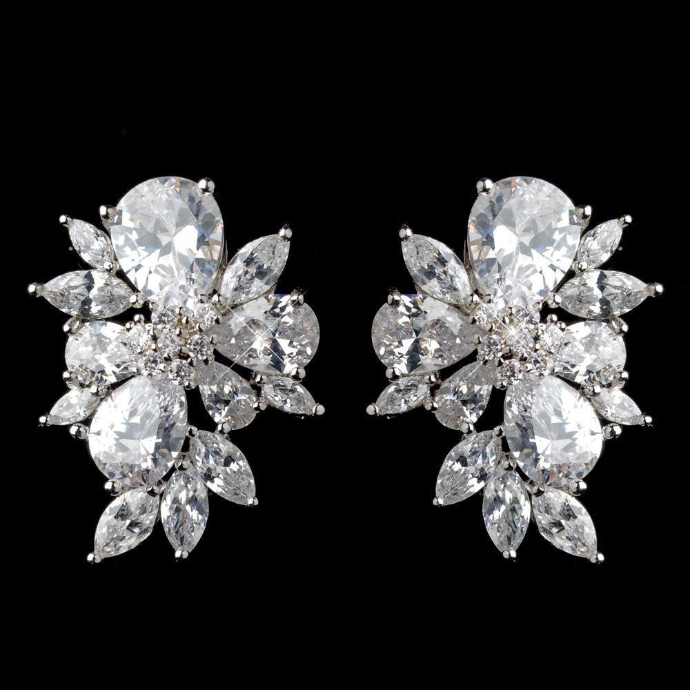 Multi Cut Cz Cluster Stud Wedding Earrings