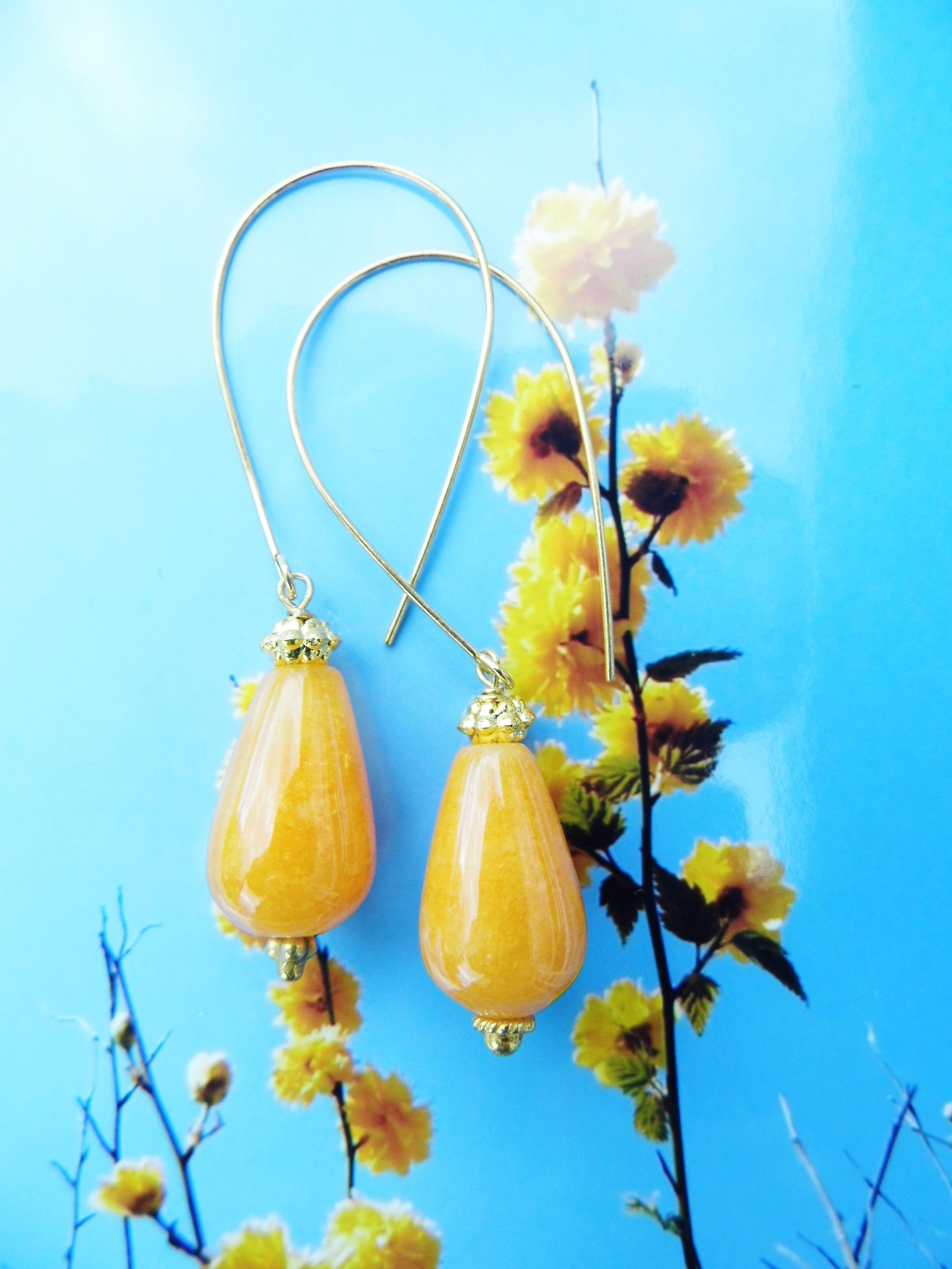 Gul agat og forgyldt ørering til boheme gudinden med den individuelle smag. Yellow agate for the bohemian godess med the individual taste www.annweidesign.com